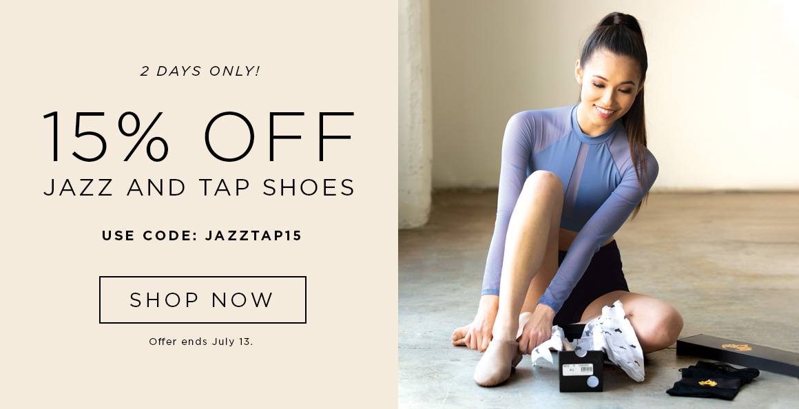 15% off Jazz and Tap Shoes