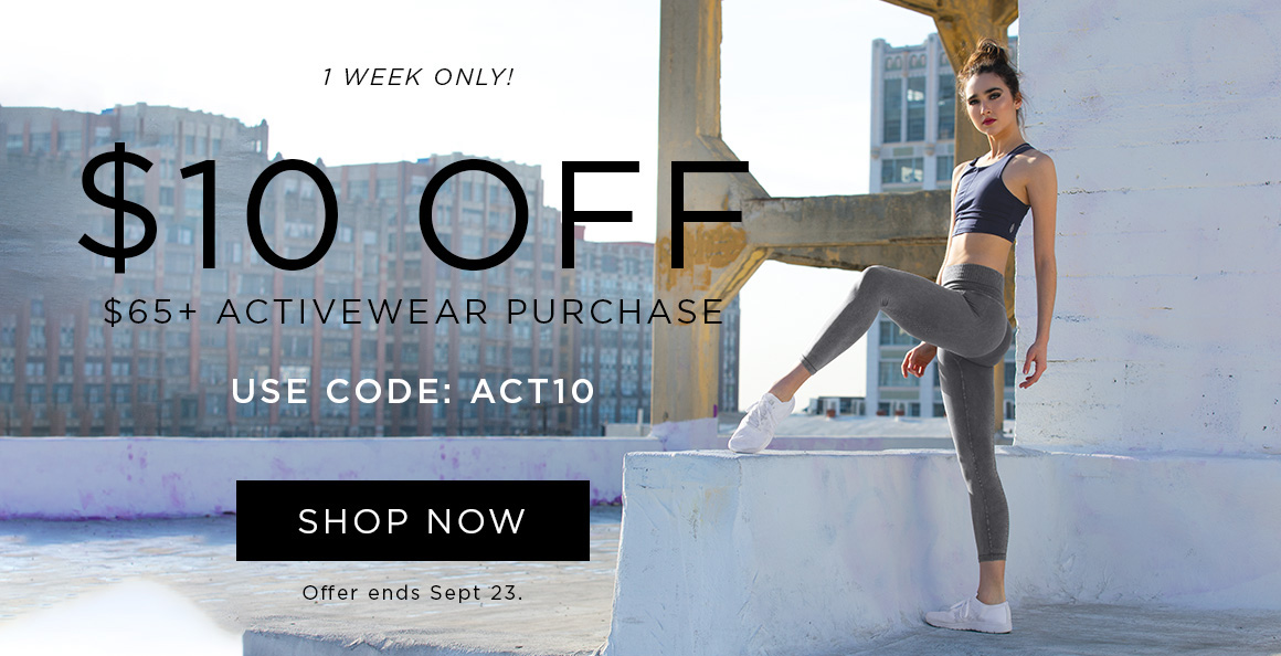 $10 off $65+ activewear