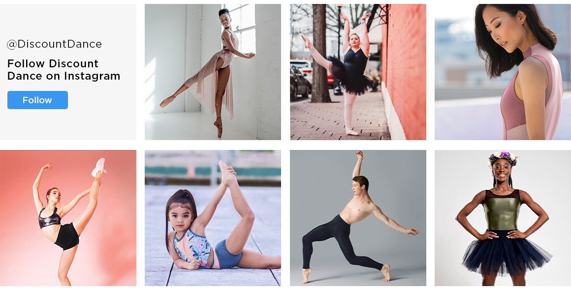 Image showing sample images from Discount Dance's instagram account.