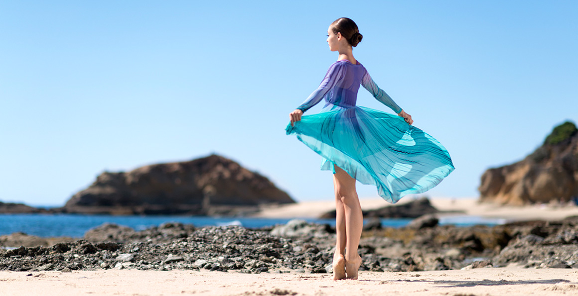image of a dancer on the beach