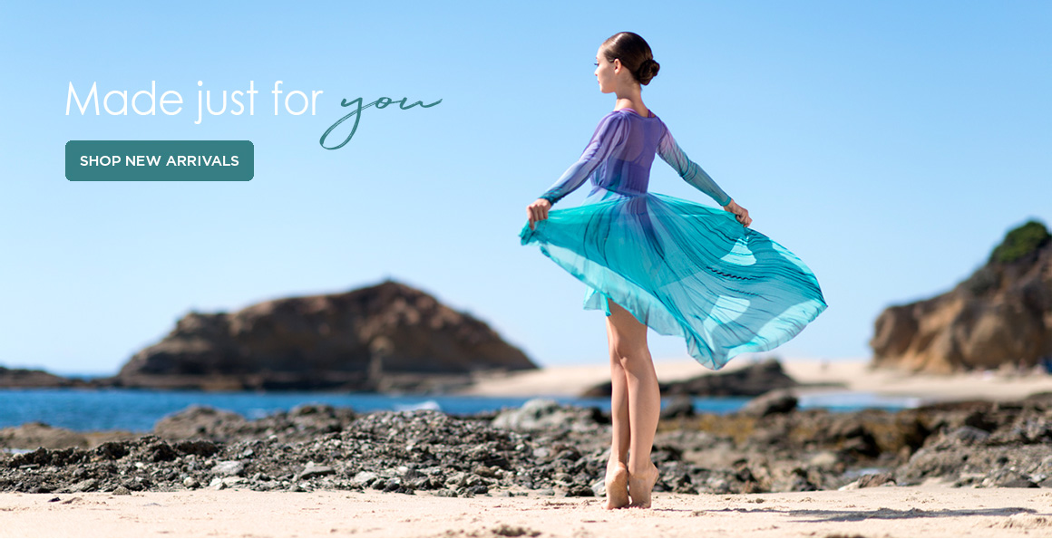 Image of a dancer on the beach to advertise new arrivals