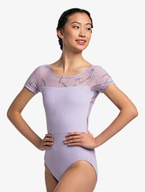 "Ainsliewear - Womens ""Bonnie"" Mesh Short Sleeve Leotard"