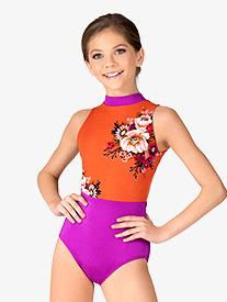 Chelsea B Dancewear - Girls Magenta Floral Tank Leotard