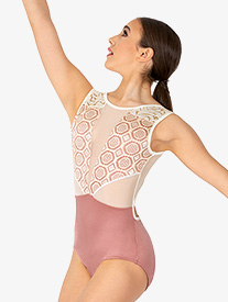 "Chelsea B Dancewear - Girls ""Venda"" Mauve Lace Panel Tank Leotard"