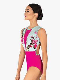 "Chelsea B Dancewear - Girls ""Blossom"" Mint V-Front Tank Leotard"