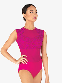 "Chelsea B Dancewear - Girls ""Lacey"" Pink Lace Panel Tank Leotard"