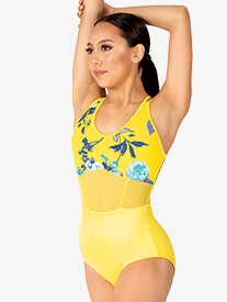 "Chelsea B Dancewear - Girls ""Jessa"" Yellow Floral Crisscross Back Tank Leotard"