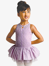 Danznmotion - Girls Embroidered Mesh Overlay Tank Ballet Tutu Dress
