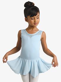 Danznmotion - Girls Floral Glitter Print Tank Ballet Dress