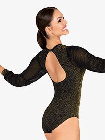 DanzNmotion - Womens Sparkle Back Keyhole Long Sleeve Leotard
