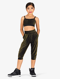 DanzNmotion - Girls Sparkle Cropped Dance Joggers