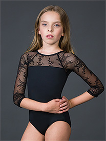 Suffolk - Girls Silver Shadow Illusion 3/4 Sleeve Leotard