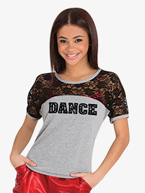 """Body Wrappers - Womens """"Dance"""" Graphic Lace Short Sleeve Top"""
