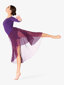 BalTogs - Womens Plus Size High-Low Mock Wrap Dance Skirt