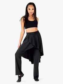 BalTogs - Womens Plus Size High-Low Mock Skirt Boot Cut Dance Pants