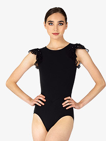 BalTogs - Womens Diamond Mesh Flutter Sleeve Leotard