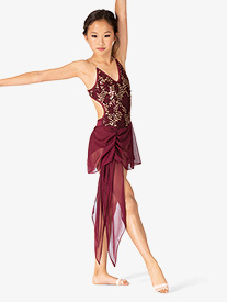 Body Wrappers - Girls Performance Double Sequin Camisole Dress