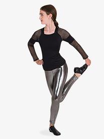 Body Wrappers - Womens Metallic Mesh Long Sleeve Dance Top