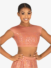 Body Wrappers - Womens Performance Sequin Cap Sleeve Crop Top