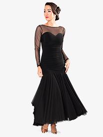 Dance America - Womens Mesh Sweetheart Long Ballroom Dance Dress
