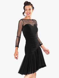 Dance America - Womens Mesh Sweetheart Short Ballroom Dance Dress