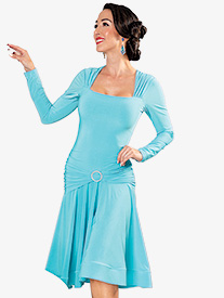 Dance America - Womens Square Neck Short Ballroom Dance Dress