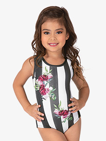 Dance to the Beach - Girls Floral Stripe Sublimated Print Tank Leotard