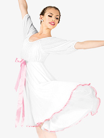Elisse by Double Platinum - Womens Short Sleeve Ribbon Dress