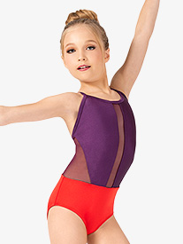 Ella - Girls Contrast Crisscross Back Camisole Leotard