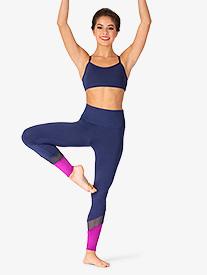 Ella - Womens Mesh Insert Color Block Workout Leggings