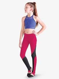 Bloch - Girls Two-Tone Stirrup Dance Leggings
