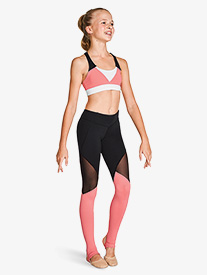Bloch - Girls Color Block Mesh Insert Active Leggings