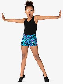 """Bloch - Girls """"Ink Spot"""" Print Dance Shorts"""