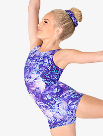 "Dynami - Girls ""Dreamy Blooms"" Print Tank Shorty Unitard"