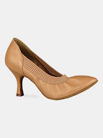 "Dance America - Womens ""Helena"" Stretch Leather Ballroom Dance Shoes"