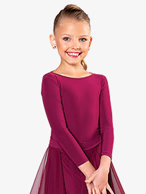 Dance America - Girls Tie Back Long Sleeve Ballroom Leotard