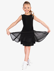 Dance America - Girls Tie Back Mesh Short Ballroom Skirt