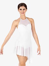 Body Wrappers - Adult Asymmetrical Mesh Halter Dress