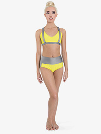 "Ilogear - Womens ""Kaylee"" Neon Yellow Contrast Dance Briefs"