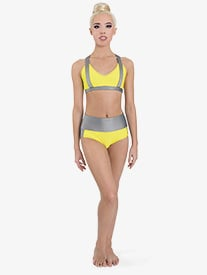 "Ilogear - Girls ""Kaylee"" Neon Yellow Contrast Dance Briefs"