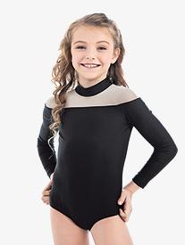 """Oh La La Dancewear - Womens Lilly K """"Reveal"""" Ebony 3/4 Sleeve Leotard"""