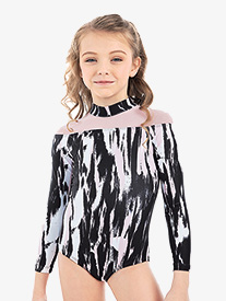 "Oh La La Dancewear - Girls Lilly K ""Reveal"" Blush Streak 3/4 Sleeve Leotard"