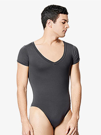 "Lulli - Mens ""Ethan"" Microfiber V-Neck Short Sleeve Leotard"