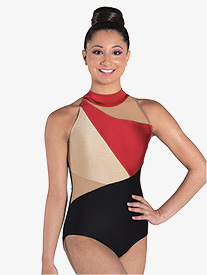 "Ilogear - Womens ""Liv"" Ruby Mock Neck Halter Leotard"