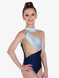 "Ilogear - Womens ""Liv"" Light Blue Mock Neck Halter Leotard"