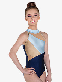 "Ilogear - Girls ""Liv"" Light Blue Mock Neck Halter Leotard"