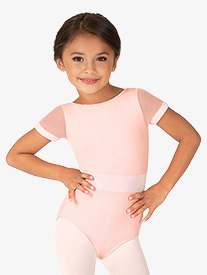 Mirella - Girls Velvet Waistband Short Sleeve Leotard