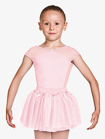 Mirella - Girls Dot Mesh Bow Front Short Sleeve Leotard
