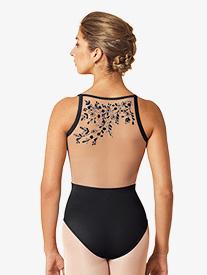 Mirella - Womens Embroidered Mesh Side Insert Camisole Leotard