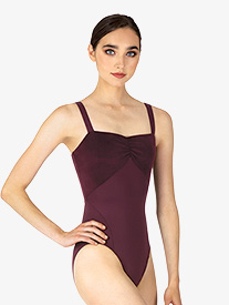 Mirella - Womens Velvet Back Cutout Camisole Leotard